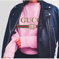 Gucci Fashion Woman Men Top Print Word Leisure Round neck Sweater