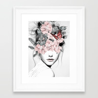 WOMAN WITH FLOWERS 10 Framed Art Print by dada22