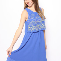 Flowy Embroidered Cocktail Dress: Blue