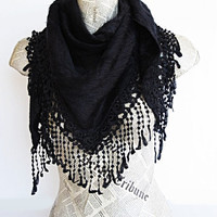 ON SALE ANGORA Black Scarf Or Shawl With Fringed Lace, For Woman, Wedding, Winter Trends