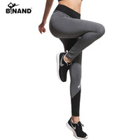 BINAND Women Letters Print Patchwork Slim Sports Leggings  Fitness Workout Yoga Pants Lady Gym Clothes Outdoors Sportwear