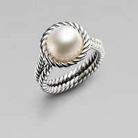 David Yurman - White Freshwater Pearl & Sterling Silver Cable Ring