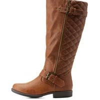 Chestnut Quilted Round Toe Riding Boots by Charlotte Russe