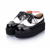 Free P&P Women's 5.5cm Heel Lace Up Platform Shoes Oxfords Flat Creeper Sneakers