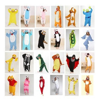 Adult animal pajamas one piece cartoon flannel Pajama Onesuits for adults costume animal pajama suit free shipping