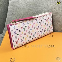 Louis Vuitton LV Women Fashion New Monogram Print Leather Double Zipper Wallet Purse 2#