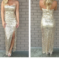 Gold sequin formal dress/gown
