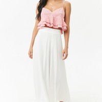 Striped Cropped Lace-Up Cami