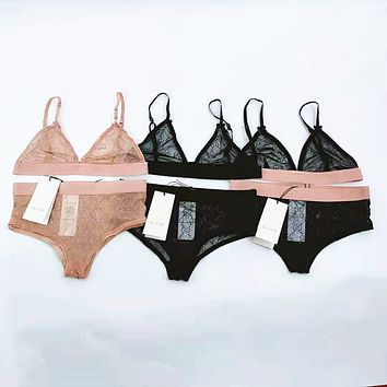 Gucci fashion half cup sexy bra without underwire two piece set