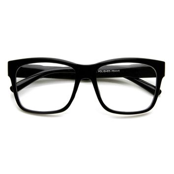 Large Retro Clear Lens Nerd Hipster Horned Rim Glasses 8789