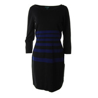 Lauren Ralph Lauren Womens Knit Striped Sweaterdress