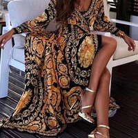 Versace Spring Long Sleeve V-Neck Print Maxi Dress Casual Loose Women Bohemian Open Fork Beach Long Dress