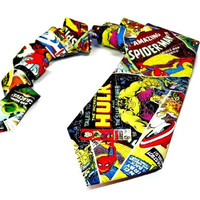 marvel comics tie, superhero tie, marvel tie, avengers tie, super hero tie, Thor Spiderman Wolverine Captain America Hulk Iron Man