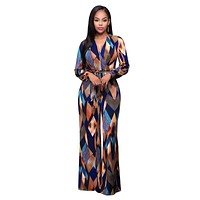 Fashion V-Neck Long Jumpsuits For Women Multi Printed Rompers Womens Jumpsuit 2016 Autumn Overalls Playsuits Macacao 80223