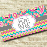 Custom Personalized License Plate, Monogrammed License Plate, Paisley Chevron
