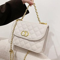 Dior CD solid color sewing thread flap shoulder bag chain crossbody bag White