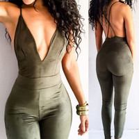 Brand 2016 Summer Elegant Womens Rompers Jumpsuit Casual Solid Bodysuit Sleeveless Deep V Neck Long Playsuits Plus Size