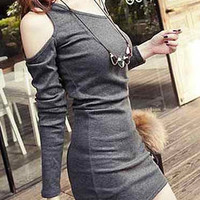 Deep Gray Cut Out Long Sleeve Mini Dress