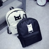 Canvas Backpack Cute Cartoon Cat Backpack Women Casual Students School Bags Casual Cute Rucksack Bookbags Mochila /by dhl 100pcs