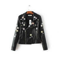 2016 Trending Fashion Leather Floral Printed Women  Sweater Cardigan Coat Jacket Outerwear Top _ 10012