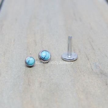"Turquoise flat back earrings 16g titanium high polish 1/4"" or 5/16"" length 3mm or 4mm bezel set synthetic turquoise ear lip conch helix stud"