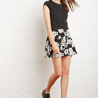 Button-Front Floral Skirt