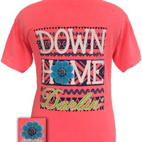 Girlie Girl Originals Down Home Darlin Flower Comfort Colors Neon Red Orange Bright T Shirt