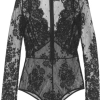 I.D. Sarrieri - La Robe Noire Chantilly lace-appliquéd tulle bodysuit