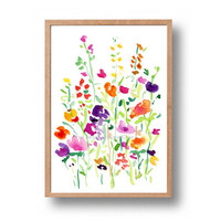 Flower field print, abstract floral art, colorful floral art, watercolor flowers, spring blossom print, floral art print, modern home decor
