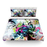 """Kess InHouse Mat Miller """"Streaming Eyes"""" Multicolor Abstract 104 by 88-Inch Cotton Duvet Cover, King"""
