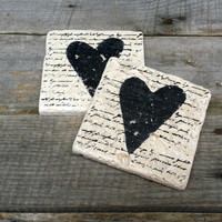 Hand Stamped Heart and Love Script Stone Tile Coasters Set of 4, Rustic Table Decor, Rustic Wedding Favor, Beverage Coaster