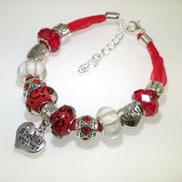 European Charm Beaded Leather Friendship Bracelet - Special Mother
