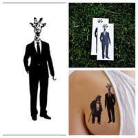 Giraffe in a Suit - temporary tattoo (Set of 2)