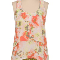 lace back floral tiered high-low tank