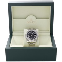 Mens 41mm 116300 Rolex DateJust II Steel Diamond Watch Black Roman Dial 3 CT.