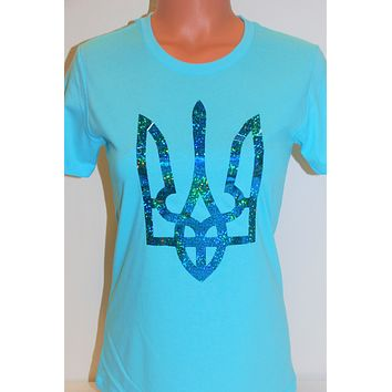 """Women's tee shirt """"Holographic Tryzub"""" sky blue"""