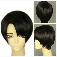 Short Straight Attack on Titan Levi Rivaille Cosplay Wig