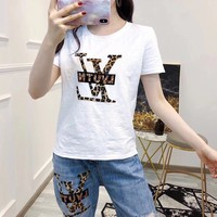 """""""LOUIS VUITTON"""" Woman Casual Wild Fashion Letter  Print Short Sleeve Trousers Two-Piece Casual Wear"""
