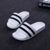 Black White Striped Bathroom Outdoor Indoor Slippers
