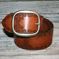 Womens Belts Brown Tooled Leather Belt Hippie Boho Brass Buckle Brown Belt Hippie Belt Boho Belt Fashion Accessories