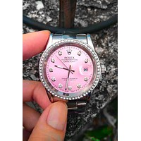 Rolex Fashion Shiny Diamond Quartz Watches Wrist Watch Pink