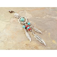 Turquoise and Red Dream Catcher Belly Button Jewelry Ring Tribal Belly Ring