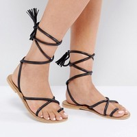 ASOS FALIA Leather Tie Leg Flat Sandals at asos.com