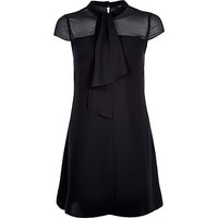River Island Womens Black pussybow swing dress