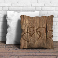 Heart Carved In Wood Pillow | Aneend