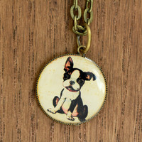 Boston Terrier Necklace : Puppy Dog Brass Charm Necklace, Handmade in Canada by OAKWILDE in ETSY