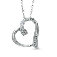 Lab-Created White Sapphire and Diamond Accent Looping Heart Pendant in Sterling Silver