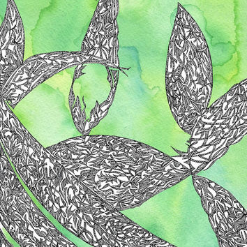 Abstract Watercolor Leaf Painting // Art Print // Wall Art