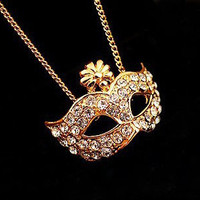 Golden Rhinestone Opera Mask Necklace from LOOBACK FASHION STORE