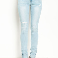 LIGHT SHREDDED SKINNY JEANS